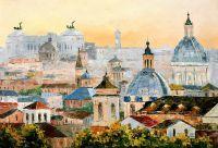 """Городской пейзаж маслом """"Рим. Вид на крыши"""""""