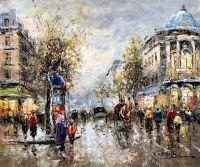 Пейзаж Парижа Антуана Бланшара Les Grands Boulevards, et Theatre du Vaudeville