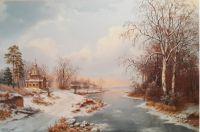 Зимний пейзаж с церквью