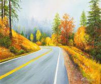 Пейзаж маслом Дорога в осень