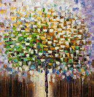 Абстракция маслом Дерево в импрессионистских тонах