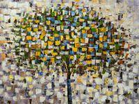 Абстракция маслом Дерево осенью. Листопад N2