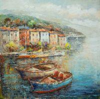Пейзаж морской маслом Лодки у лигурийской набережной N2
