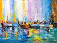 Пейзаж маслом Лодки N10. Серия Морская разноцветная