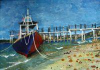Картина гуашь морской пейзаж корабль отлив