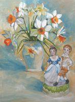 Картина маслом букет нарциссов