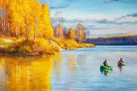 Картина маслом Осенняя рыбалка