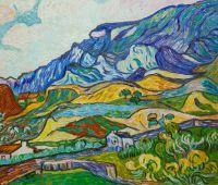 Копия картины Ван Гога. Альпий, горный пейзаж близ Сен-Реми