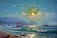 Берег моря в лунную ночь.