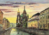 Санкт-Петербург. Вечерний вид на Храм Воскресения Христова на Крови