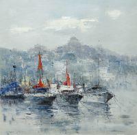 Яхты на фоне города