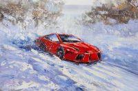 Спортивный автомобиль на снежной трассе