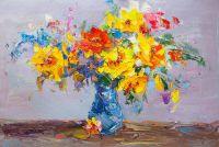 Разноцветный букет с желтыми розами N1
