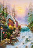 "Копия картины Томаса Кинкейда ""Любимый коттедж  (Sweetheart Cottage)"", худ. А.Ромм"