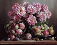 Георгины и яблоки