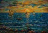 морской закат солнца