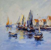Амстердам. Лодки на фоне города