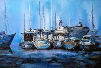 Лодки. Синий тон