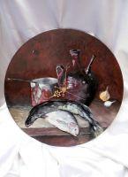 Натюрморт с рыбой и вином(часы)