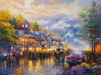 Копия картины Томаса Кинкейда Воспоминания о городе Маунтин-Вью (Mountain Memories)