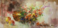 Корзина с цветами и фрукты