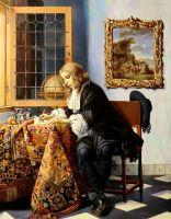 Молодой человек пишущий письмо (копия Метсю)