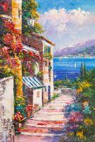 Цветущий дворик. Вид на море