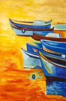 Копия картины Ивайло Николова. Рыбацкие лодки N2
