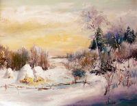 Зимний пейзаж со стожками