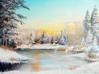 Пейзаж с замёрзшей рекой