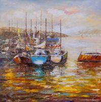 Лодки в закатном заливе N3