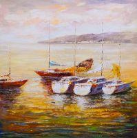 Лодки в закатном заливе N5