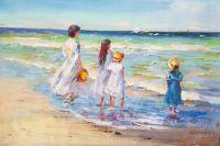 Дети на морском берегу. Провожая в плавание