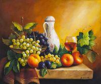 Натюрморт с виноградом, яблоками и сливой