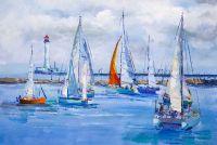 Яхты на фоне маяка