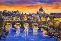 Вид на мост Святого Ангела и собор Святого Петра