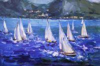 Регата. Сине-белый пейзаж N4