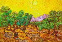 Копия картины Ван Гога. Оливковые деревья с желтым небом и солнцем, 1889 г.