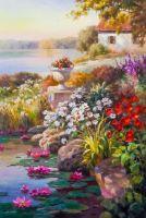 Цветущий сад на фоне озера