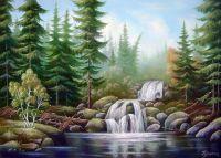 Лесной водопад.