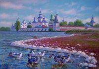 Гуси у Кирилло-Белозерского монастыря.