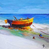 Оранжевая лодка на берегу
