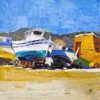 Жаркий полдень. Лодки на берегу