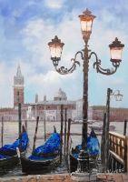 Гондолы у пристани с видом на Сан-Джорджо Маджоре. Версия CV