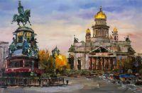 Вид на Исаакиевский собор и памятник Николаю I