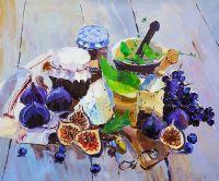 Натюрморт с инжиром, сыром и виноградом