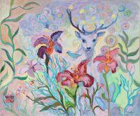 Картина нежная пейзаж лилии лес