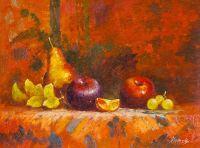 Фрукты на столе. В оранжевых тонах