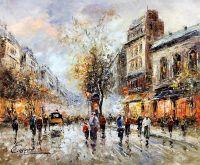 Пейзаж Парижа Антуана Бланшара. Theatre du Gymnase. Boulevard Bonne Nouvelle