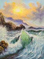 Изумрудные волны и солнце